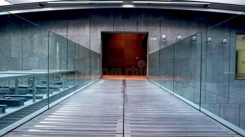 Metal Walkway and glass railing royalty free stock photos
