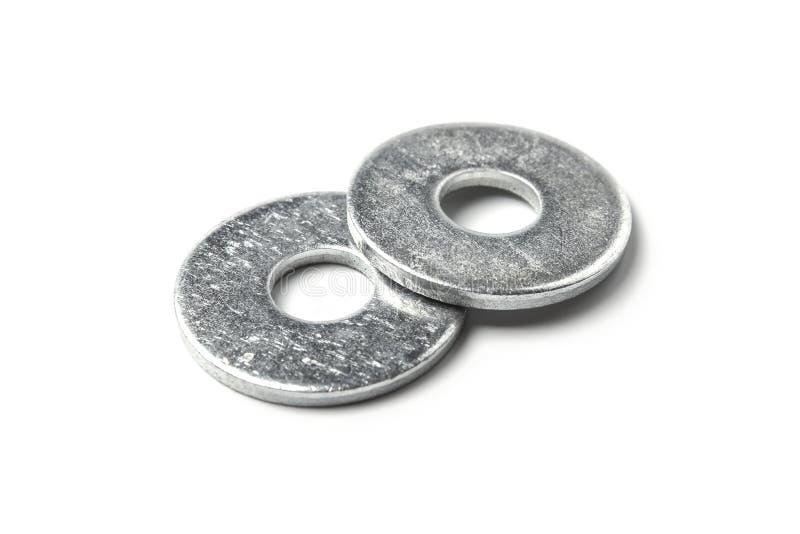 Metal washers. Isolated on white background stock image