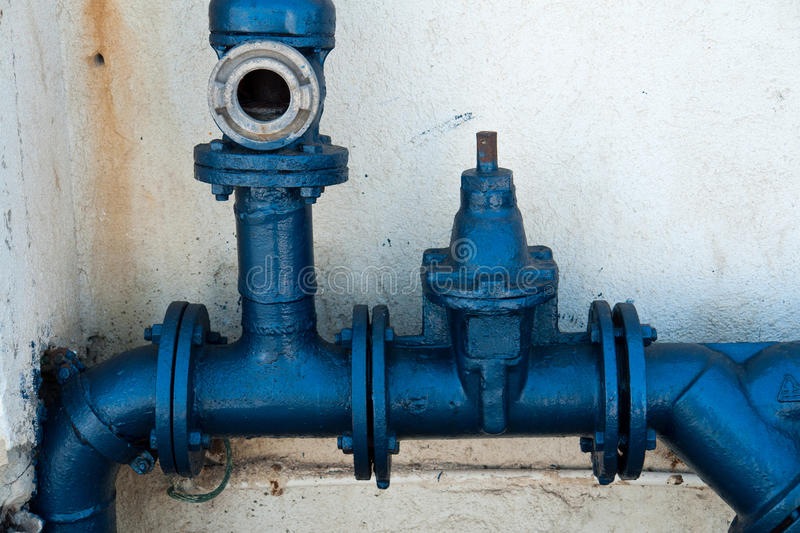 Metal water pipes royalty free stock photos