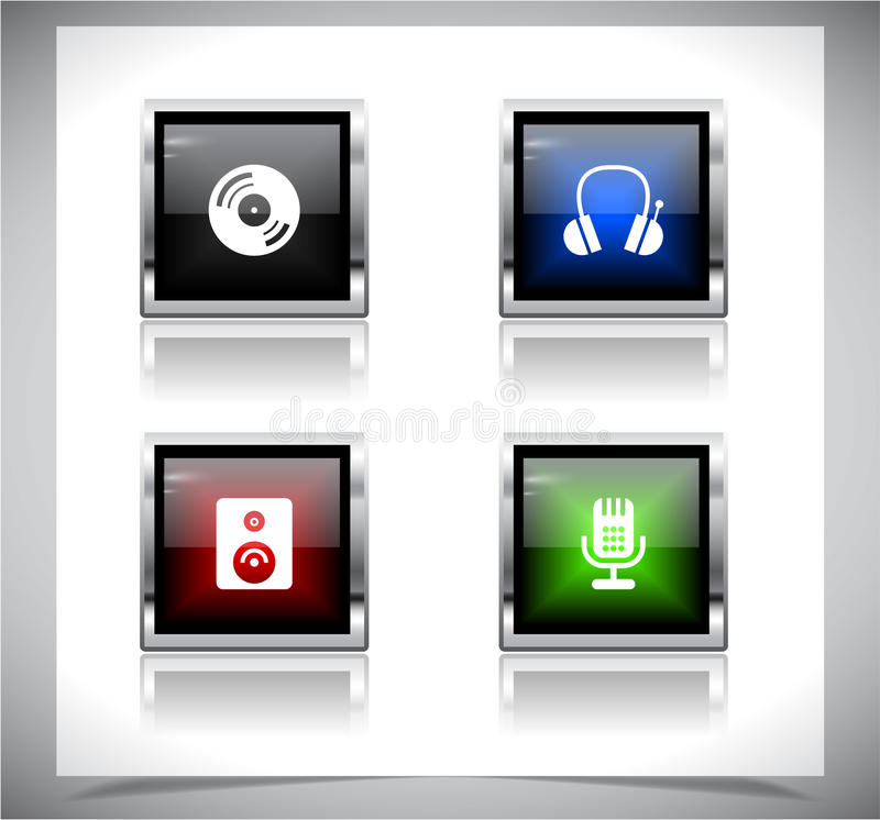 Metal web buttons. Vector eps10. Cool color shiny metal web buttons. Vector illustration royalty free illustration