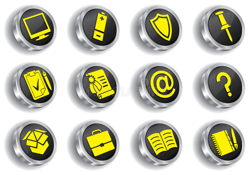 Metal web icon set (chrome version) stock illustration