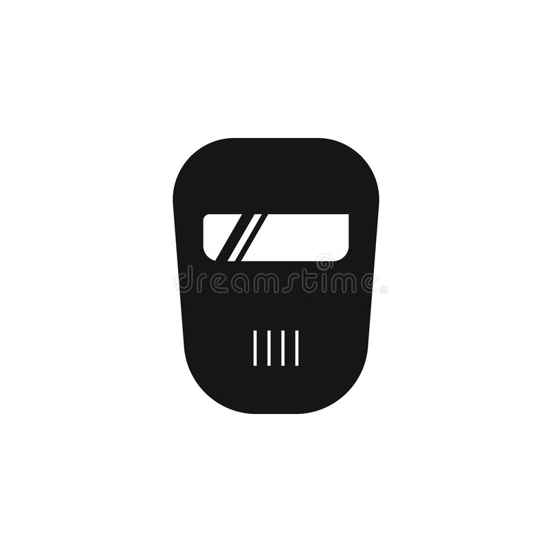 Metal welder helmet icon. Flat metal welder helmet vector icon for web design isolated on white background. Metal welder royalty free illustration