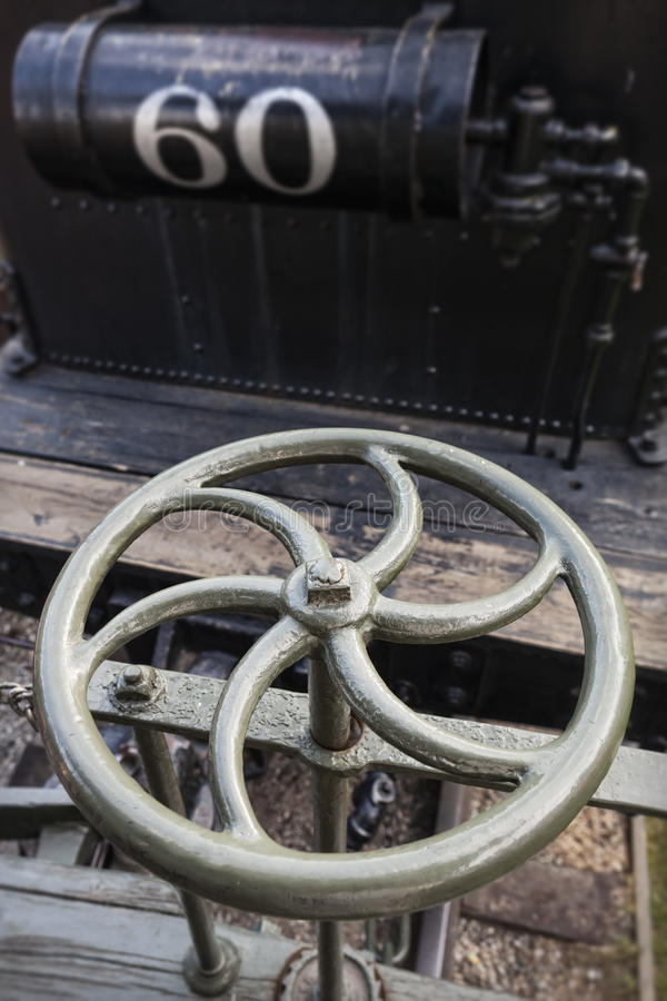 Metal Wheel of Steam Locomotive stock photos