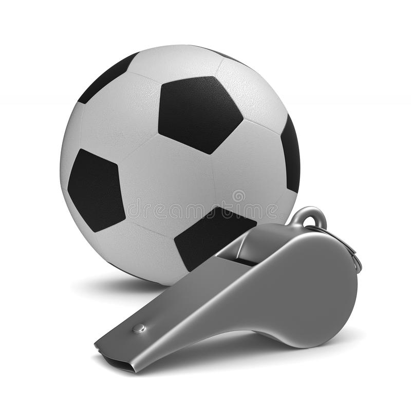 Metal whistle and soccer ball on white background. Isolated 3D i. Llustration vector illustration