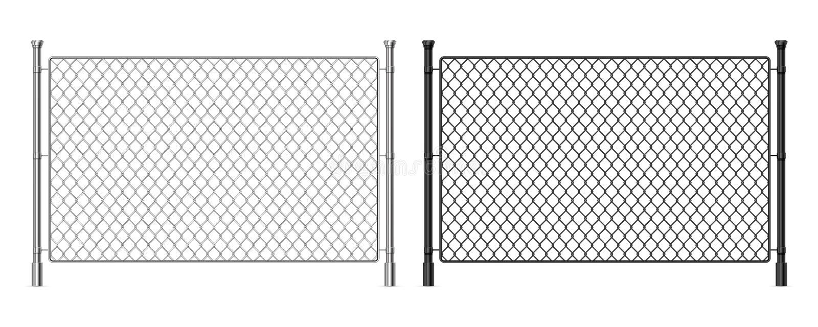 Metal wire fence. Realistic steel dark and light fence, industrial metal wire mesh, prison security urban railing royalty free illustration