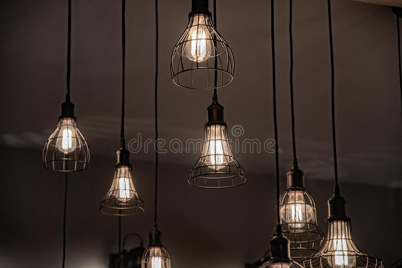 Two Ceiling Lamps With Retro Style Lampshades Draped With