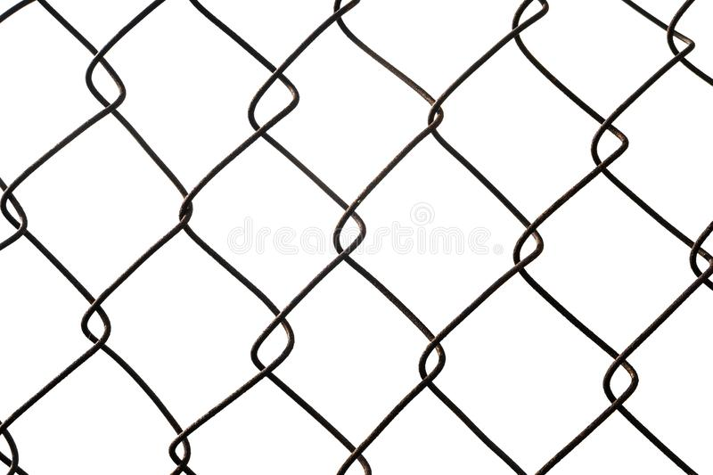 Metal wire-mesh rabitz isolated on white background. Metal chain links wire-mesh rabitz isolated on white background royalty free stock images