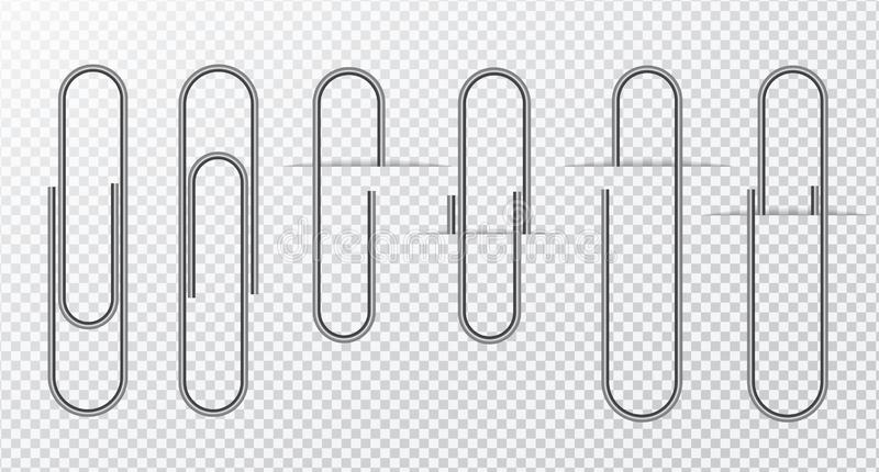 Metal wire paper clip On a transparent background.  royalty free illustration