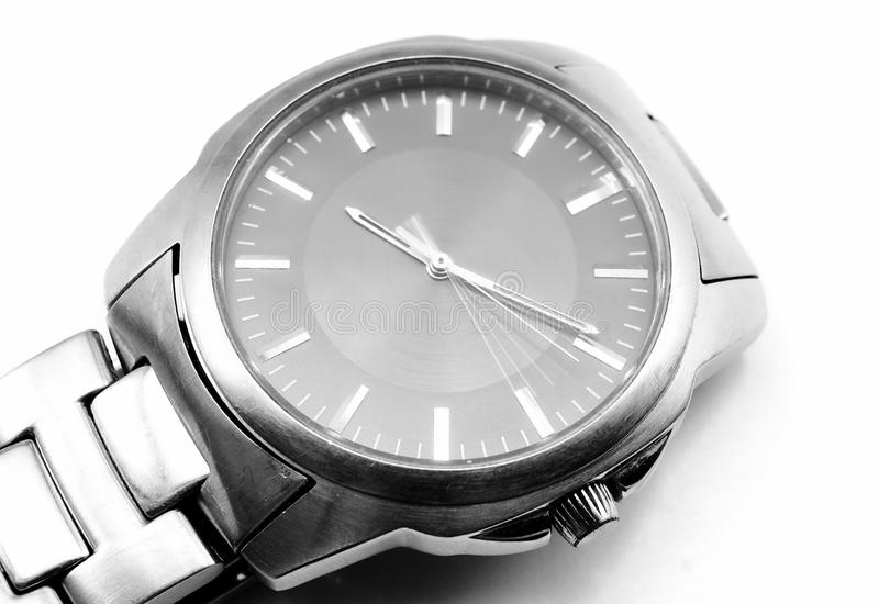 Metal wrist watch. Old wrist watch isolated white royalty free stock images