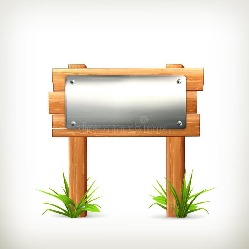 Metal y madera del letrero stock de ilustración