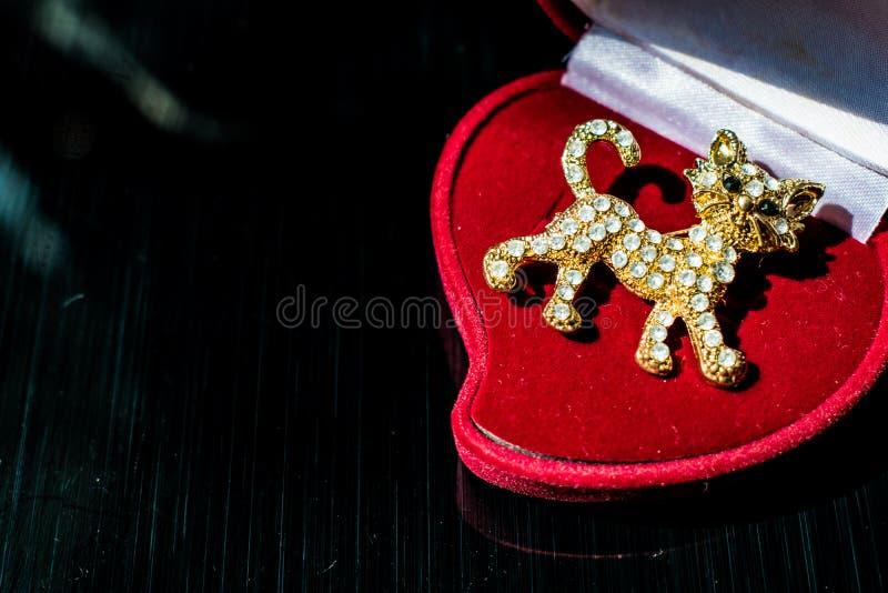 Metal Złota broszka w postaci figlarki lub tygrysiego lisiątka z białymi kamieniami, rhinestones Na czarnym glansowanym, odbijają obraz royalty free