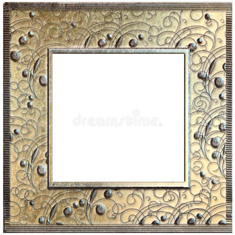 Metal złota rama odizolowywająca na bielu fotografia royalty free