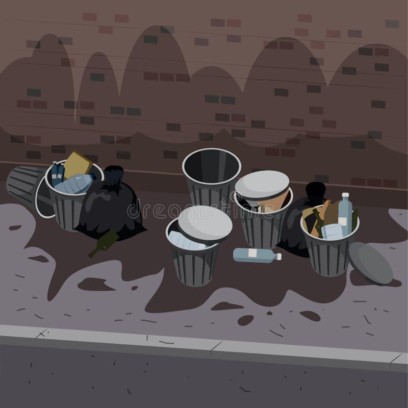 Metali śmieciarscy zbiorniki z niesortowanym gratem disposed na ulicznej powierzchowności Banialuk i grata torby k?ama woko?o usy ilustracja wektor