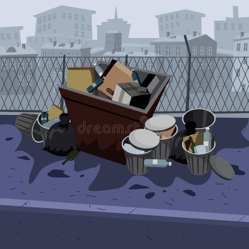 Metali śmieciarscy zbiorniki z niesortowanym gratem disposed na ulicznej powierzchowności z miast drapacz chmur linia horyzontu w ilustracja wektor