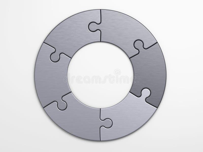 Metali kawałki łamigłówka umieszczać pojęcia ilustracja wektor