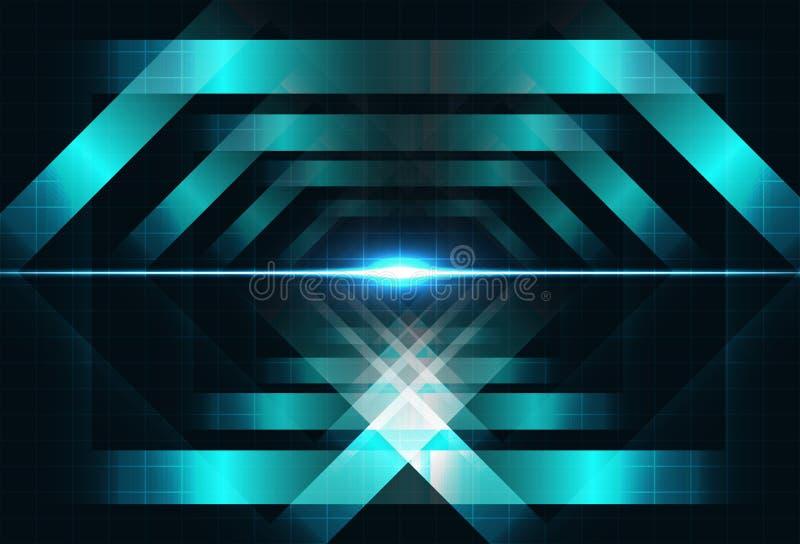 Metali kwadratów kształta pojęcia światła technologii pojęcia błyszczący geome royalty ilustracja