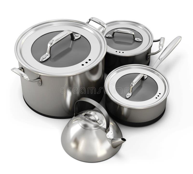Metali naczynia odizolowywają royalty ilustracja