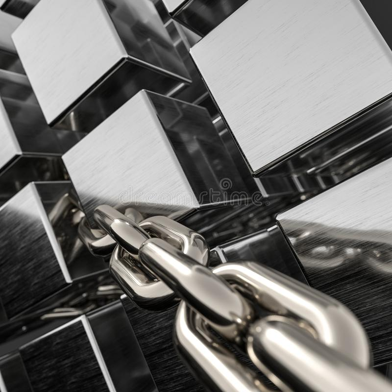 Metali sześcianów i łańcuchów tło, 3d rendering royalty ilustracja