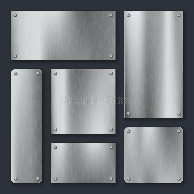 Metali talerze Stalowy talerz, nierdzewna panelu chromu etykietka z śrubami Przemysłowej technologii kruszcowy pusty realistyczny royalty ilustracja