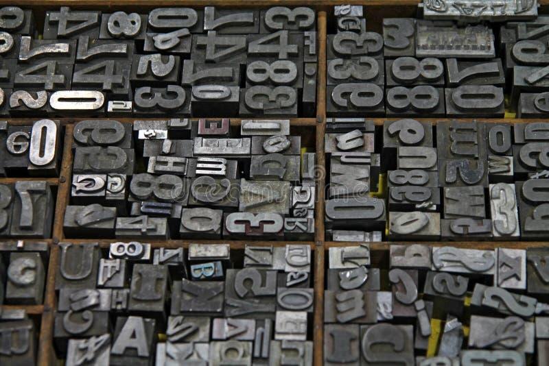Metali typesetting listy zdjęcie stock