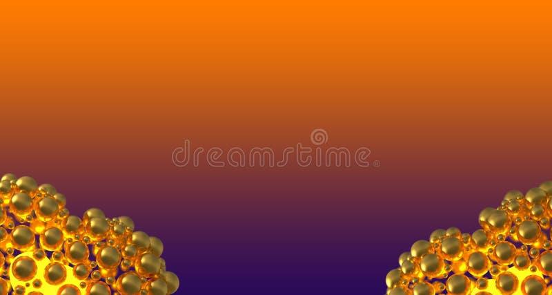 metali złociści serca robić sfery z odbiciami i lataniem nad fiołkowym gradientowym bacground Szczęśliwa valentines dnia 3d ilust ilustracji