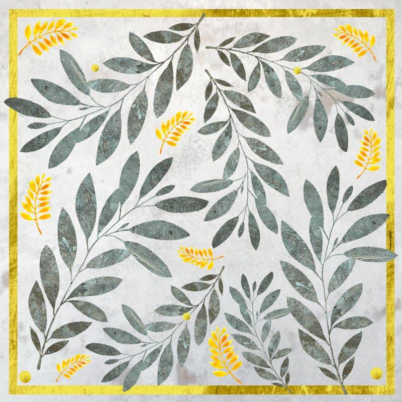 Metalic botanical pattern with yellow leaves & gold border. royalty free illustration