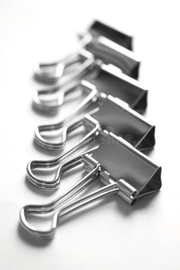 Metalic paper clips royalty free stock image