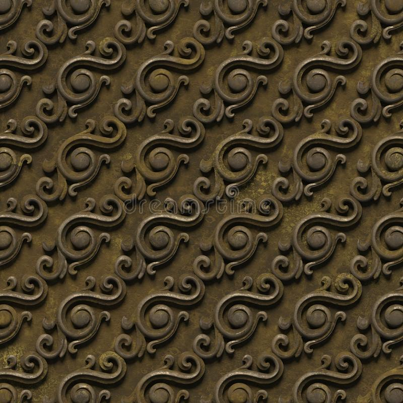 Metalic pattern. bas-relief of seamless textures, consisting of various elements of architectural ornaments and decorative stock illustration