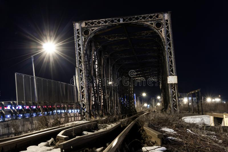 A metalic railroad bridge stock photos