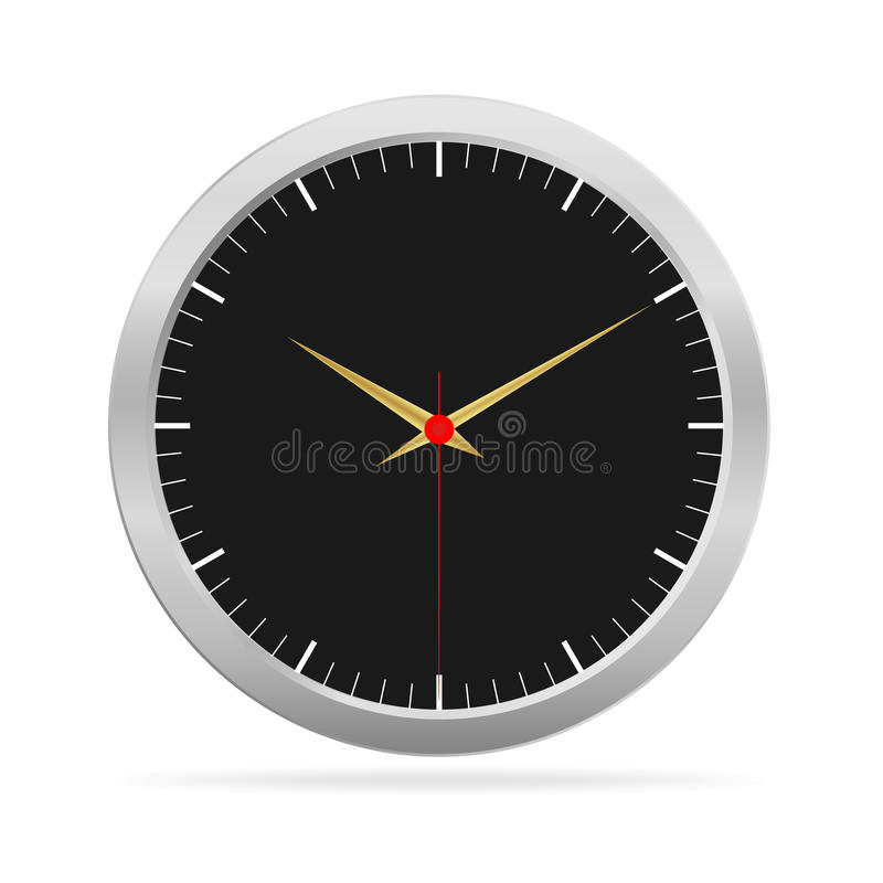 Metalic watch with black face. On white background, Vector illustration stock illustration
