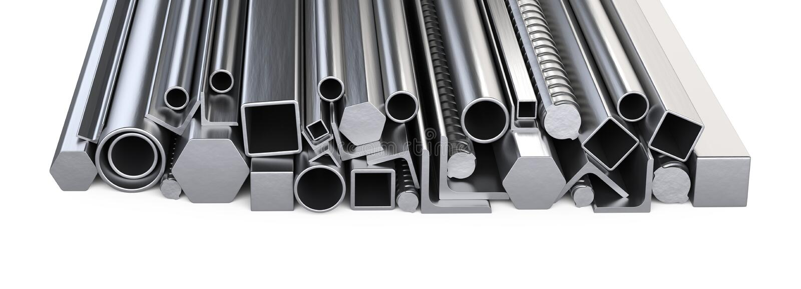 Metalick profiles and pipes stack. Warehouse for construction ma royalty free stock image