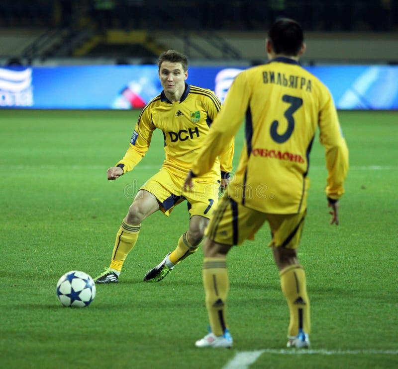 Metalist contra emparejamiento de fútbol de Metalurh Zaporizhya imagen de archivo