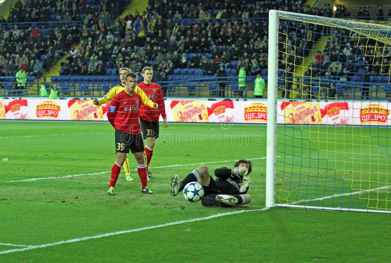 Metalist contra o fósforo de futebol de Metalurh Zaporizhya imagens de stock royalty free