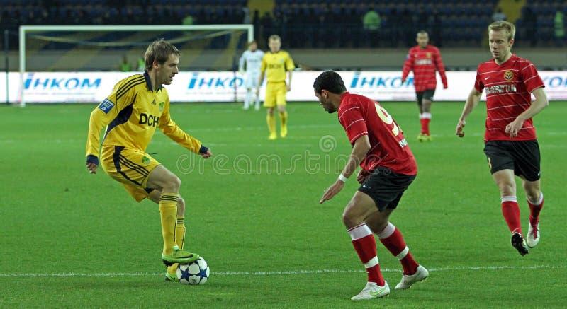 Metalist contre l'allumette de football de Metalurh Zaporizhya photographie stock libre de droits