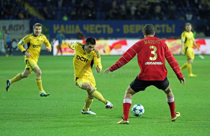 Metalist contre l'allumette de football de Metalurh Zaporizhya images libres de droits