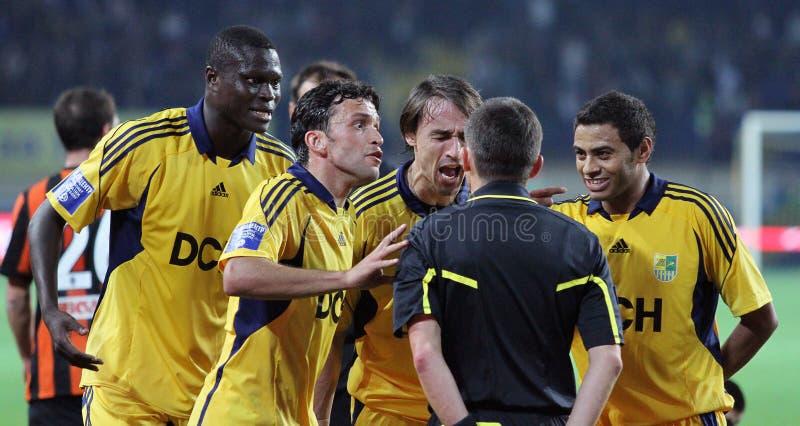 Metalist Kharkiv contre le match de football de Shakhtar images stock