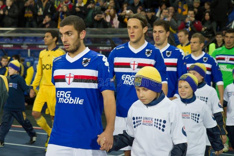 Metalist Kharkiv versus Sampdoria Genua royalty-vrije stock afbeeldingen