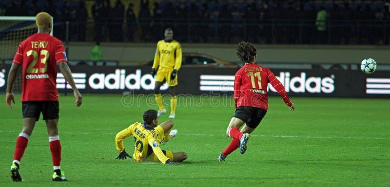 Metalist vs Metalurh mecz piłkarski Zaporizhya zdjęcie royalty free
