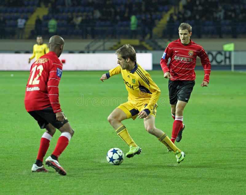 Metalist vs Metalurh mecz piłkarski Zaporizhya fotografia royalty free