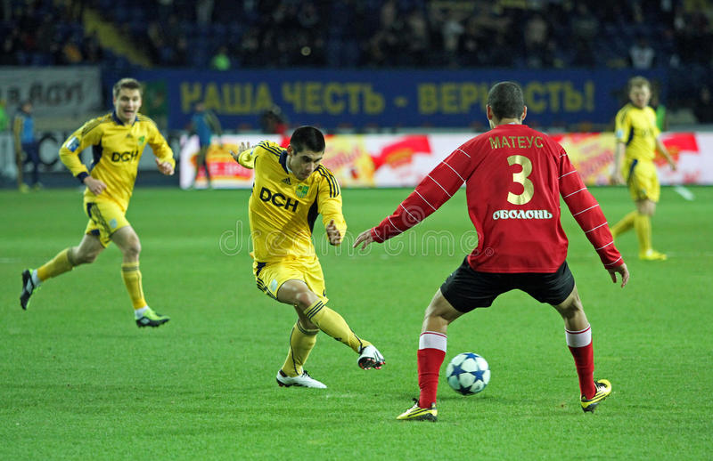 Metalist vs Metalurh Zaporizhya fotbollmatch royaltyfria bilder