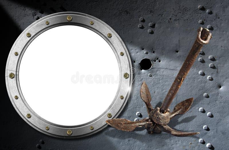 Metallöffnung auf Schmutz-Hintergrund lizenzfreie abbildung