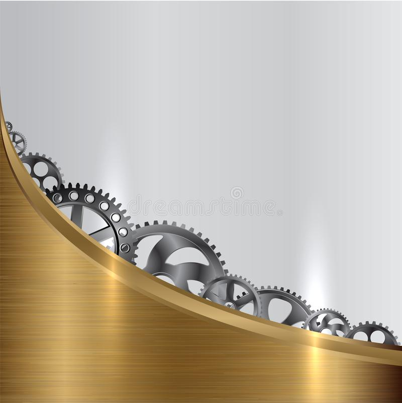 Metall bakgrund med kugghjul stock illustrationer