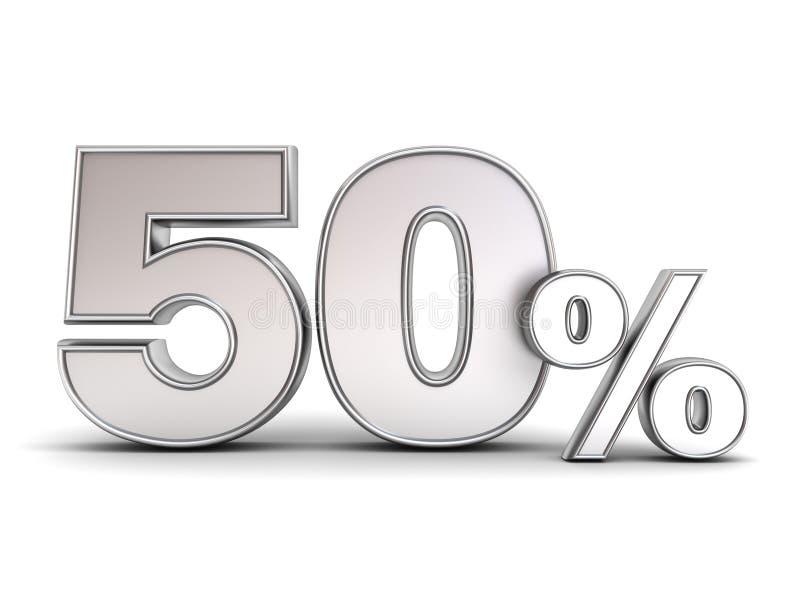 Metall 3D fünfzig Rabatttag der Prozent oder des Sonderangebots 50% stock abbildung