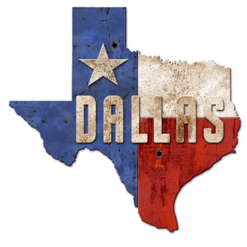 Metall Dallas Sign Grunge Texas Flags Lone Star stock abbildung