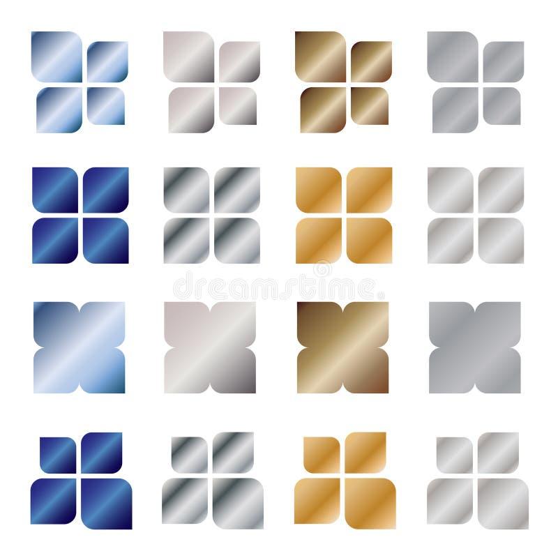 metall för designelementlogo vektor illustrationer