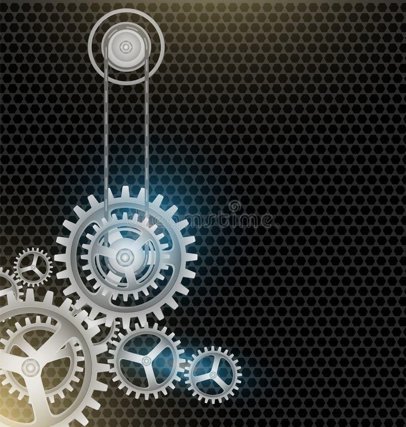 Metall förser med kuggar bakgrund för hjulsvartfärg royaltyfri illustrationer