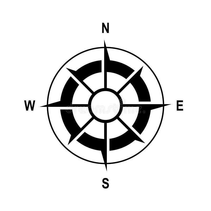 metall f?r symbol f?r green f?r huvuddelmittkompass Enkel plan vektorillustration royaltyfri illustrationer