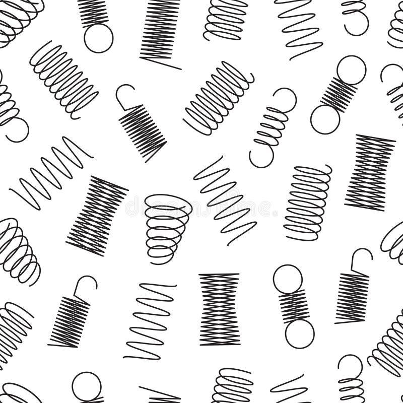 Metall fjädrar den sömlösa modellen Stålspolespiral, elastiska linjer ändlös vektortextur för böjlig tråd vektor illustrationer