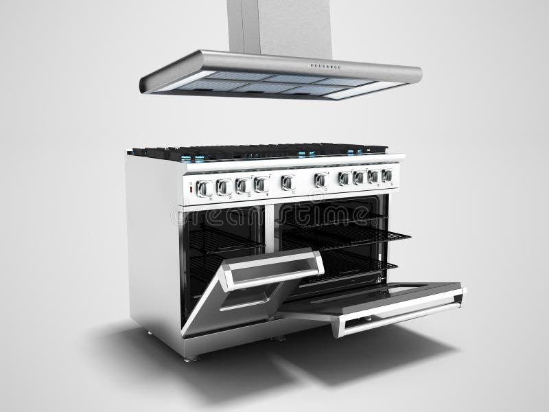 Metall-Gasoffener Ofen des ofens und des Gases mit Wiedergabe der Haube 3d auf Grau vektor abbildung