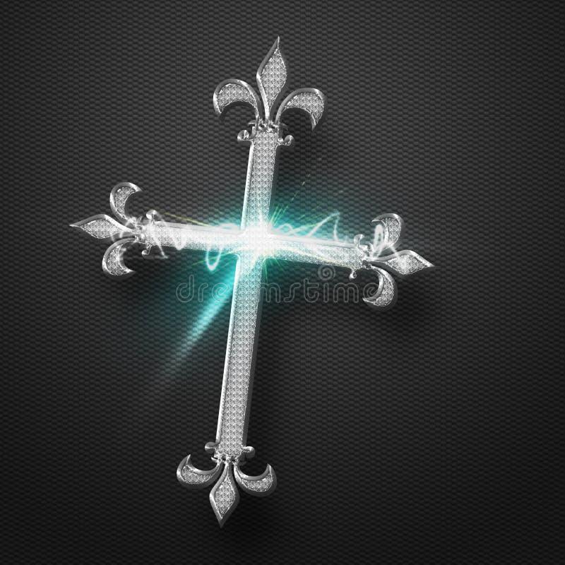 Metall Jesus Cross stock illustrationer